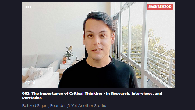 Learners talk: 002: The Importance of Critical Thinking - In UX Research, Interviews, and Portfolios