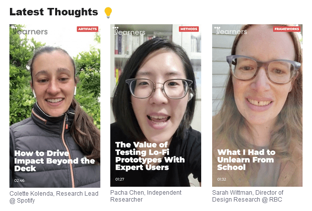 """Three """"Thought"""" videos on Learners"""